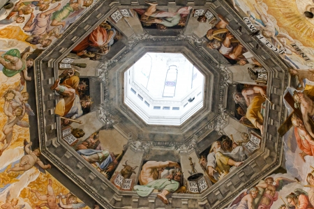 Florence - Duomo .The Last Judgement. Inside the cupola: 3600 m2 of frescoes, created by Giorgio Vasari and Federico Zuccari, who worked there from 1572 to 1579.