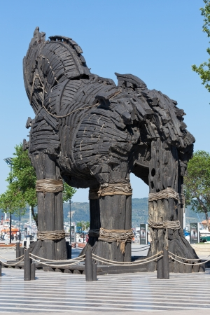 troya: The copy of Troy wooden horse at Canakkale, Turkey