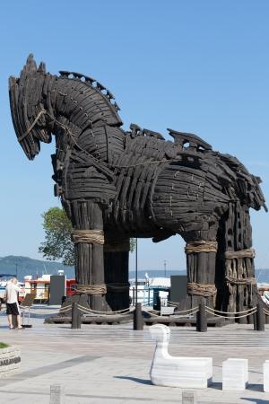 trojan horse: La copia di Troia cavallo di legno a Canakkale, Turchia