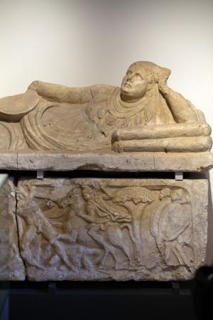 Ancient etruscan art. Sarcophagus of Chiusi, Tuscany. Stock Photo - 18792295