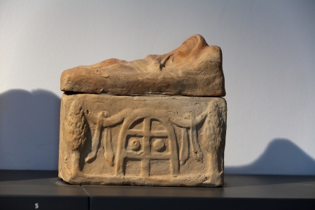 Ancient etruscan art. Painted terracotta cienrary  urns. Sarcophagus of Chiusi, Tuscany. Stock Photo - 18792277