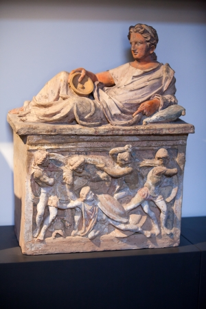 etruscan: Ancient etruscan art. Painted terracotta cienrary  urns. Sarcophagus of Chiusi, Tuscany.