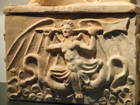 Ancient etruscan art. Sarcophagus of Chiusi, Tuscany.  Stock Photo - 18792239