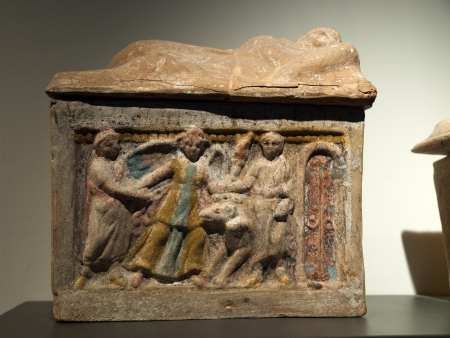 Ancient etruscan art. Sarcophagus of Chiusi, Tuscany.  Stock Photo - 18792236