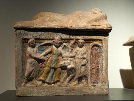 Ancient etruscan art. Sarcophagus of Chiusi, Tuscany. Stock Photo - 18792236
