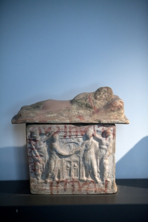 Painted terracotta cienrary  urns./ 2th century B.C./. Departure in front of the entrance to Hades Stock Photo - 19009769