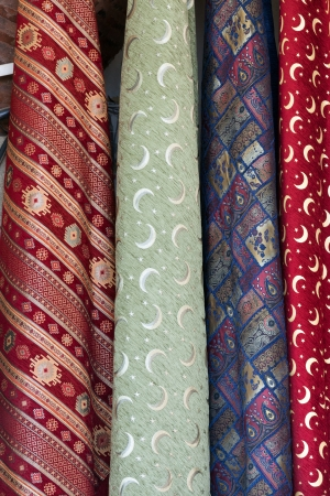 colored backgound: Turkish colourful fabrics from the silk and the cotton
