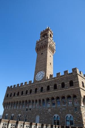 priori: Palazzo Vecchio e la torre dell'orologio in Piazza della Signoria, Firenze, Toscana