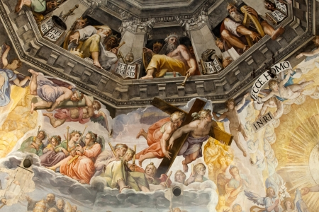 Florence - Duomo .The Last Judgement. Inside the cupola: 3600 m2 of frescoes, created by Giorgio Vasari and Federico Zuccari, who worked there from 1572 to 1579. 版權商用圖片 - 19414928