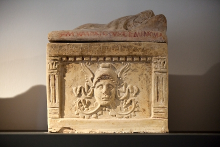 etruscan: Ancient etruscan art  Painted terracotta cienrary  urns  Sarcophagus of Chiusi, Tuscany