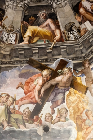church interior: Florence - Duomo .The Last Judgement. Inside the cupola: 3600 m2 of frescoes, created by Giorgio Vasari and Federico Zuccari, who worked there from 1572 to 1579. Editorial
