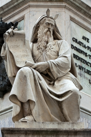isaiah: Prophet Moses statue in Rome, Italy. Famous Spanish Square (Piazza di Spagna. Biblical Statues at Base of Colonna dellImacolata