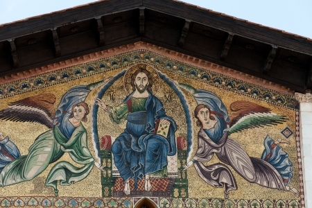 ascension:  Lucca - San Frediano Church 13th Century Ascension mosaic by Berlinghieri  Stock Photo