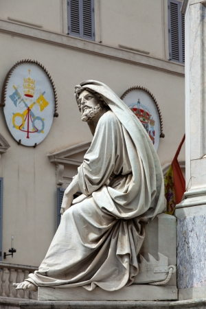 isaiah: Prophet Isaiah (Isaias) statue in Rome, Italy. Famous Spanish Square (Piazza di Spagna). Biblical Statues at Base of Colonna dellImacolata