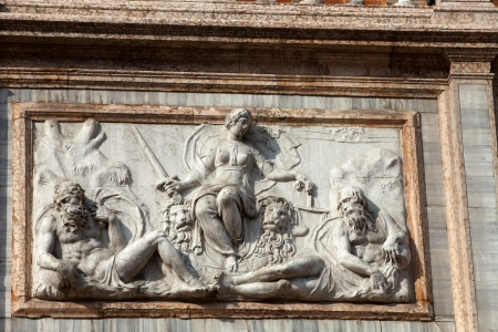 campanille: The bas-relief from The Loggetta by Jacopo Sansovino, under the Campanile di San Marco in Venice