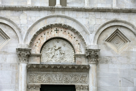 lucca:  Lucca - detail from St Martins Cathedral facade. Tuscany
