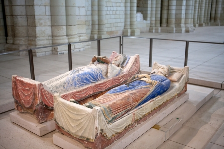 chinon: Tomb of Richard the Lionheart and Isabella of Angouleme in Fontevraud Abbey - Loire Valley , France