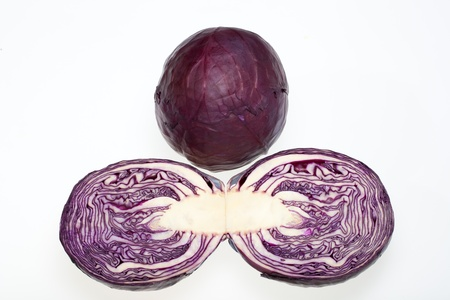 Red Cabbage cross section on White Background  photo