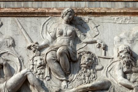 campanille: The bas-relief from The Loggetta by Jacopo Sansovino, under the Campanile di San Marco in Venice