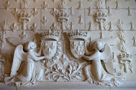 real renaissance:  Heraldic motifs in the castle Amboise. .Valley of the river Loire. France Editorial