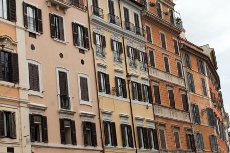 spanish steps: Old roman houses by Spanish steps in Rome  Editorial