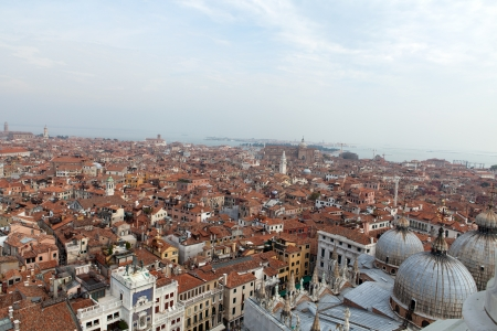procuratie: Aerial view of Venice city from the top of the bell tower at the San Marco Square, Italy