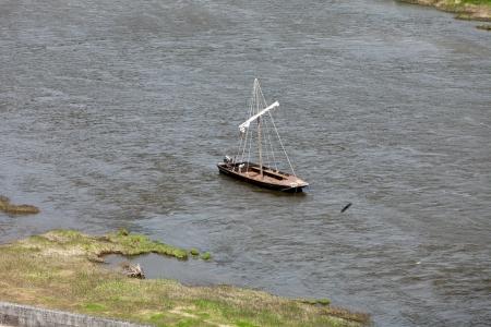 touraine: Boats on the Loire River. Amboise, Touraine, France
