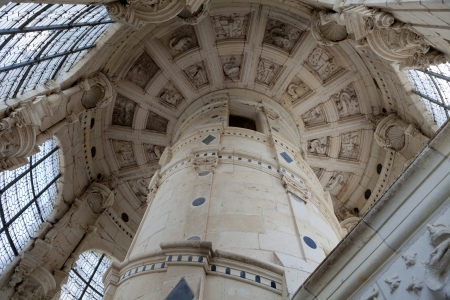 chambord: Ceiling of the staircase from castle of Chambord , France  Editorial