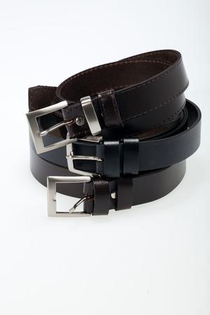 Men black belt isolated on white. photo