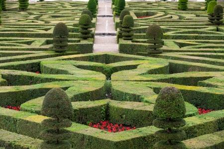 프랑스 성에서의 화려하고 장식적인 정원 스톡 콘텐츠