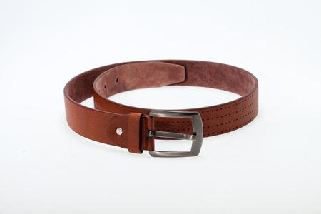 Men  brown  belt isolated on white. Stock Photo - 23382200