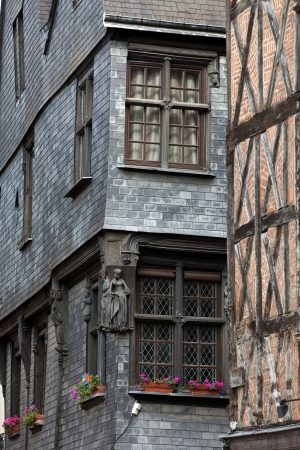 chinon: Half-timbered house in Tours, Loire Valley, France