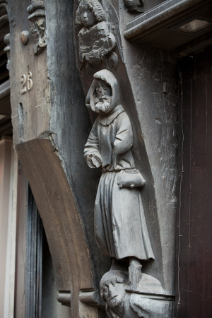 touraine: Wooden sculptures on the wall of the house. Tours, Touraine France