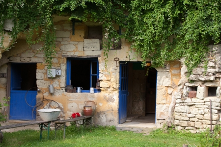 troglodyte: the homestead of troglodytes forged in the rock near Saumur Stock Photo
