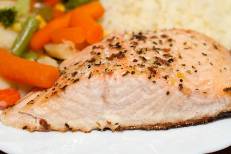 The healthy diet. The salmon with vegetables photo
