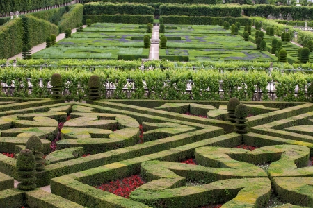 Gardens and Chateau de Villandry  in  Loire Valley in France  스톡 콘텐츠