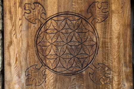 Wooden Flower of Life.  The Flower of life is an ancient symbol of Sacred Geometry and represents the fundamental order of creation. Stock Photo - 24696241