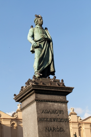 mickiewicz: Krakow - the sculpture of Adam Mickiewicz on the main square in Krakow: the writing says: For Adam Mickiewicz - Nation  Stock Photo