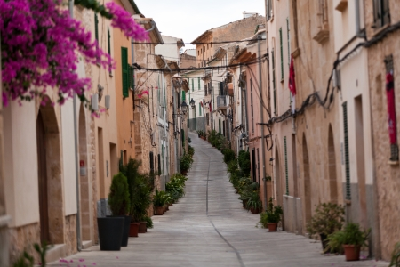 Street in old town of Alcudia . Majorca, Spain 版權商用圖片