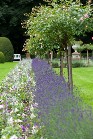 by catherine: Gardens at Chateau Chenonceau in the Loire Valley of France  Stock Photo