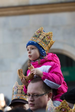 balthazar: Cracow, Poland - January 5, 2014  Biblical Magi Three Wise Men parade  around the Main Market Square in Cracow