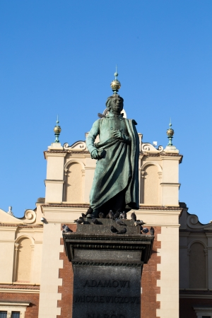 national poet: Cracow - the sculpture of Adam Mickiewicz on the main square in Krakow