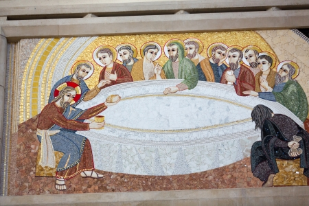 Cracow , Lagiewniki - The centre of Pope John Paul II. Mosaics on the church wall with biblical scenes - the last supper 에디토리얼