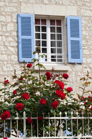 chinon: The romantic window with red roses Stock Photo