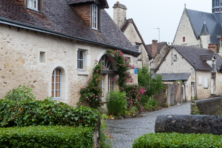 small country town: Montresor the charming small country town in the valley of Loire Stock Photo