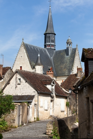 touraine: The collegiate church saint of John  the Baptist in Monteresor. Loire Valley
