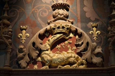 chambord: The Salamander, Emblem of François I . Castle of Blois. Loire valley, France