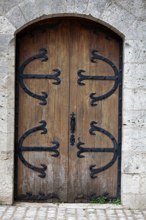 Beautiful old wooden door with iron ornaments photo