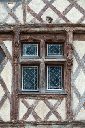courtain: Half-timbered house in Chinon, Vienne Valley, France