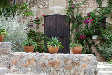 Old charming street in spanish village Valldemossa, Mallorca